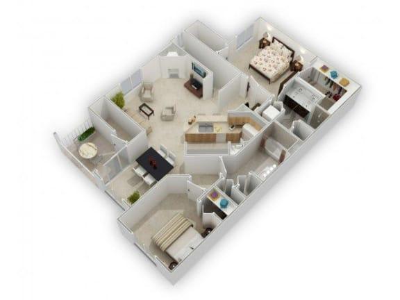 2 Bedroom 2 Bathroom Floor Plan at Farmington Lakes Apartments, Illinois, 60543