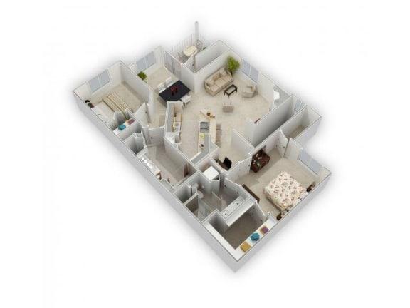 2 bedroom 2 bath Floor Plan at Farmington Lakes Apartments, Oswego, IL, 60543