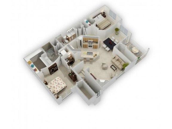 Two Bed Two Bath Floor Plan at Farmington Lakes Apartments, Oswego, IL