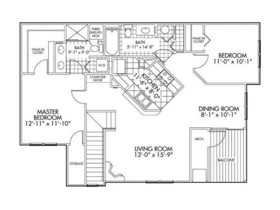 Two bedroom Two bathroom Floor Plan at Farmington Lakes Apartments, Oswego, 60543