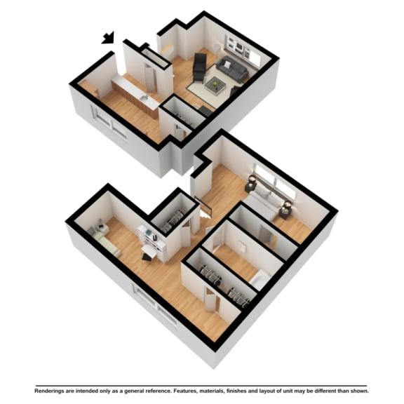 Two bedroom townhome 3d floor plan