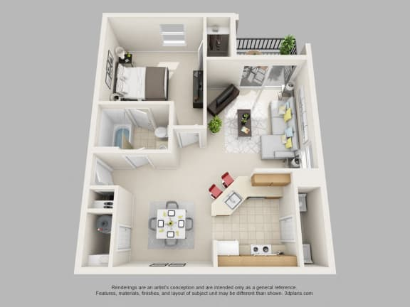 Weston Circle 1 Bedroom 1 Bathroom 3D Floor Plan