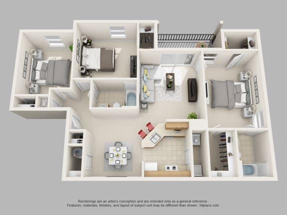 Weston Circle 3 Bedroom 2 Bathroom 3D Floor Plan