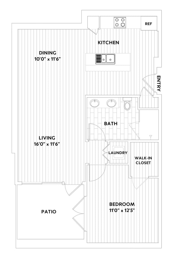 A FIVE One-Bedroom One-Bath Floor Plan at The Q Variel, California