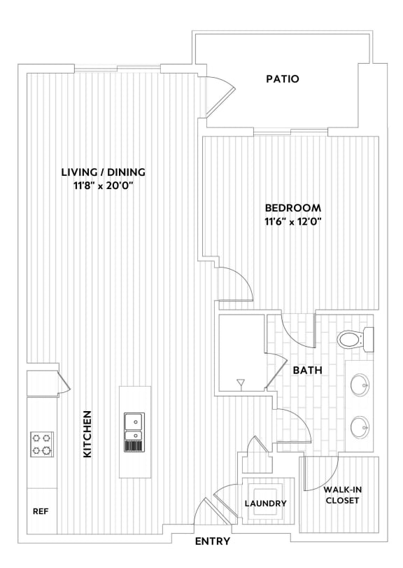 A THREE One-Bedroom One-Bath Floor Plan  at The Q Variel, Woodland Hills, California