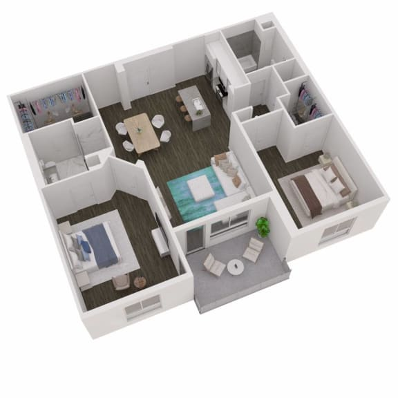 2 Bed 2 Bath Floor Plan at The Q Variel, California, 91367