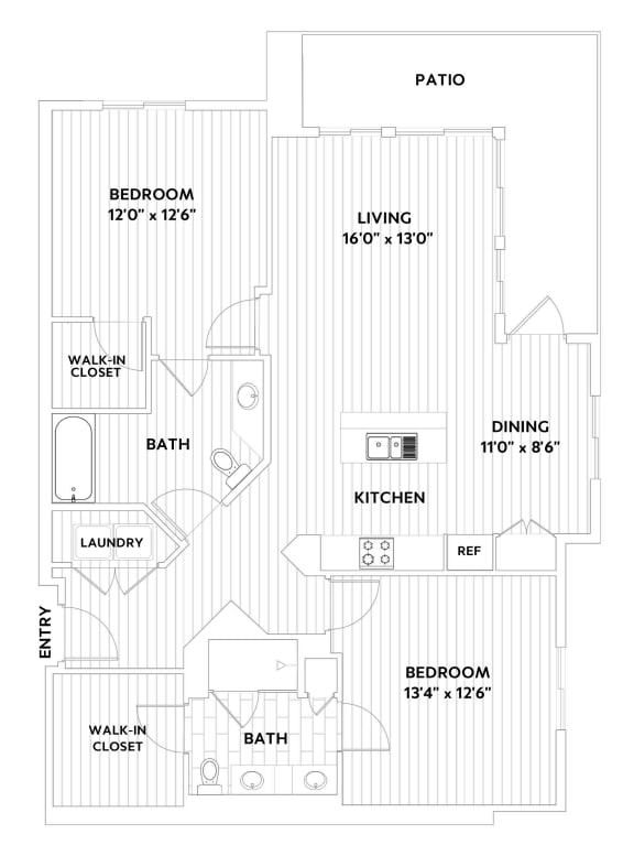 Two-Bedroom Two-Bathroom Floor Plan at The Q Variel, Woodland Hills, 91367