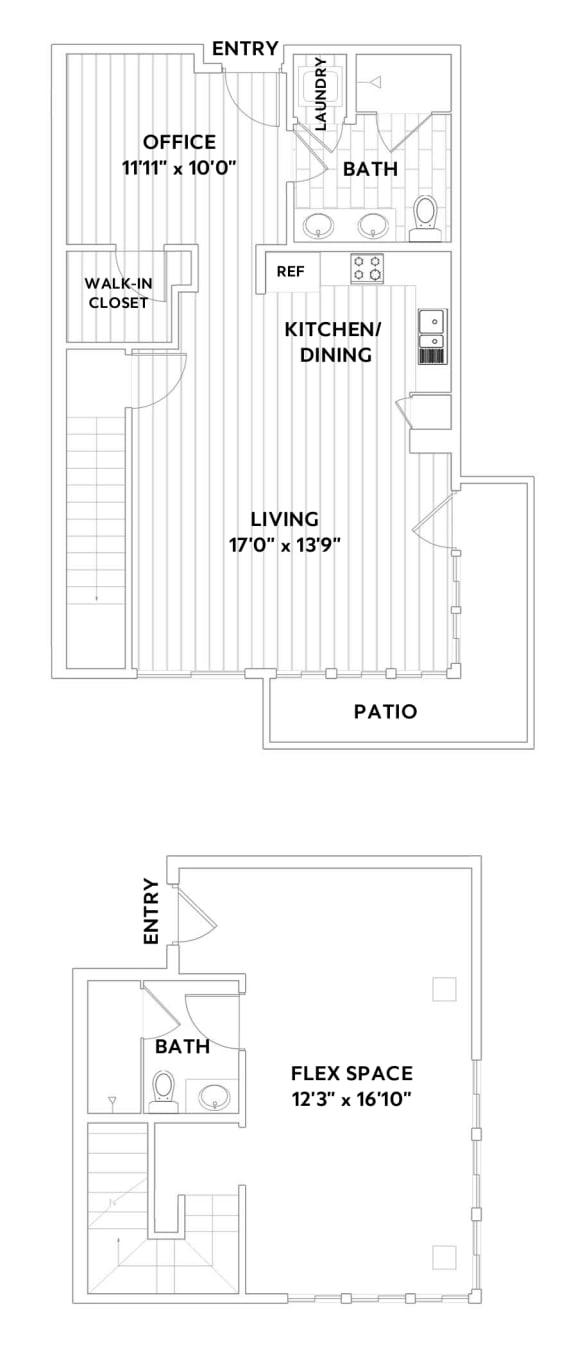 LIVE WORK One-Bedroom, Two-Bath Floor Plan with Office at The Q Variel, California
