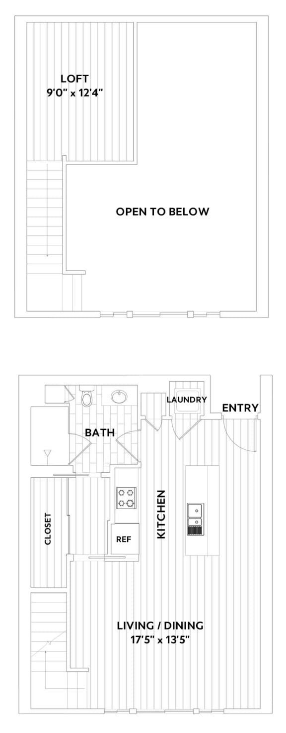 One-Bedroom, One-Bath Loft Floor Plan  at The Q Variel, California, 91367