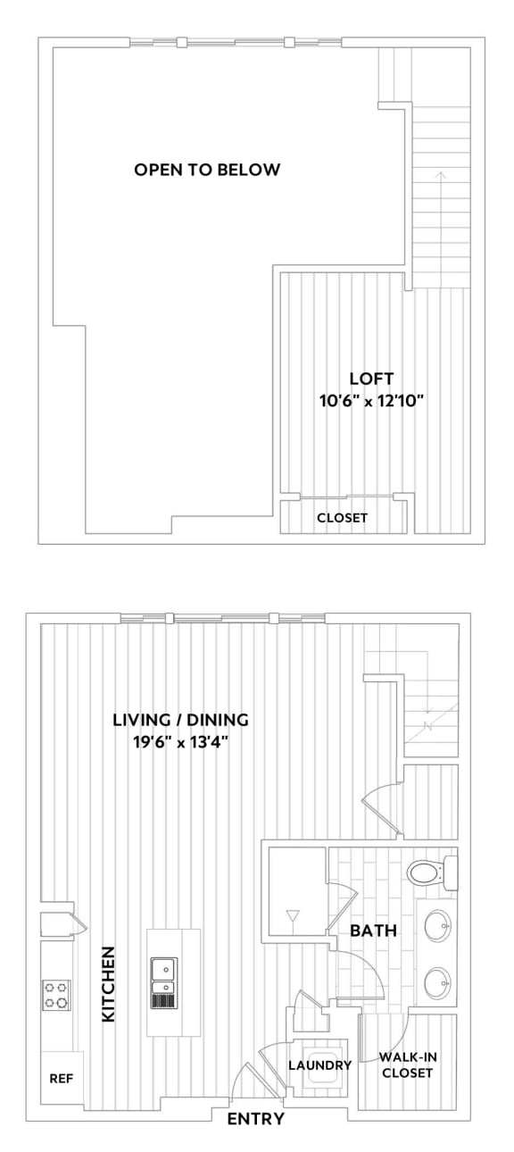 One-Bedroom, One-Bath Loft Floor Plan at The Q Variel, Woodland Hills, CA