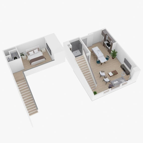 1 Bed 1 Bath Floor Plan at The Q Variel, Woodland Hills, CA