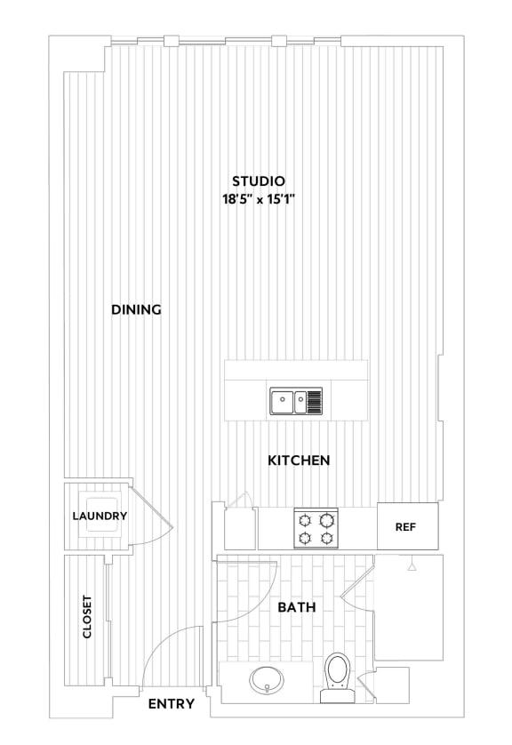STUDIO Floorplan at The Q Variel, Woodland Hills, California