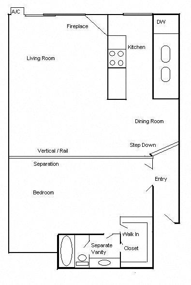 Floor Plan  Clarington Apartments 1 bedroom 1 bath floorplan