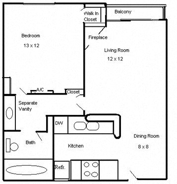 Floor Plan  Clarington Apartments 1 bedroom 1 bath floorplan
