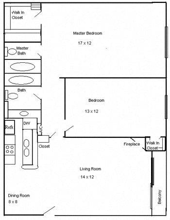 Floor Plan  Clarington Apartments 2 bedroom 2 bath floorplan