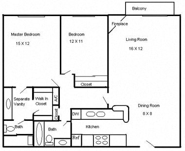 Floor Plan  Clarington Apartments 2 bedroom 2 bath floorplan