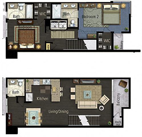 Floor Plan  2 Bedroom 2.5 Bath TH