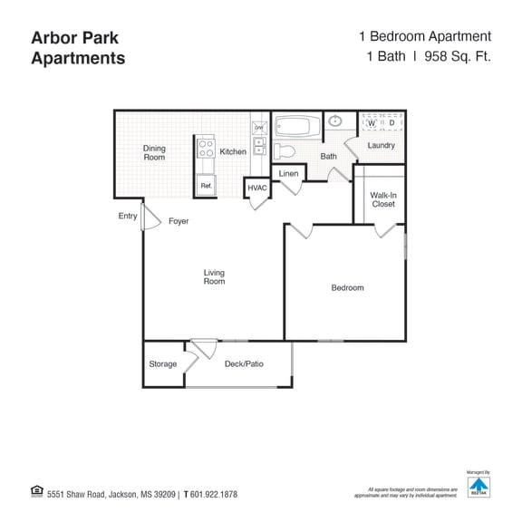 One Bed One Bath Floor Plan at Arbor Park Apartments, Mississippi