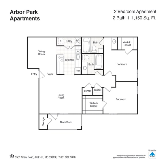 Two Bed Two Bath Floor Plan at Arbor Park Apartments, Mississippi, 39209