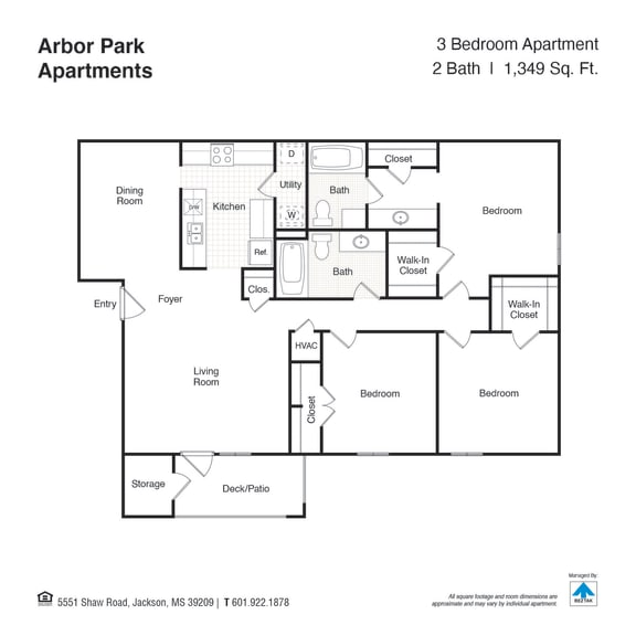 Three Bed Two Bath Floor Plan at Arbor Park Apartments, Jackson, MS, 39209