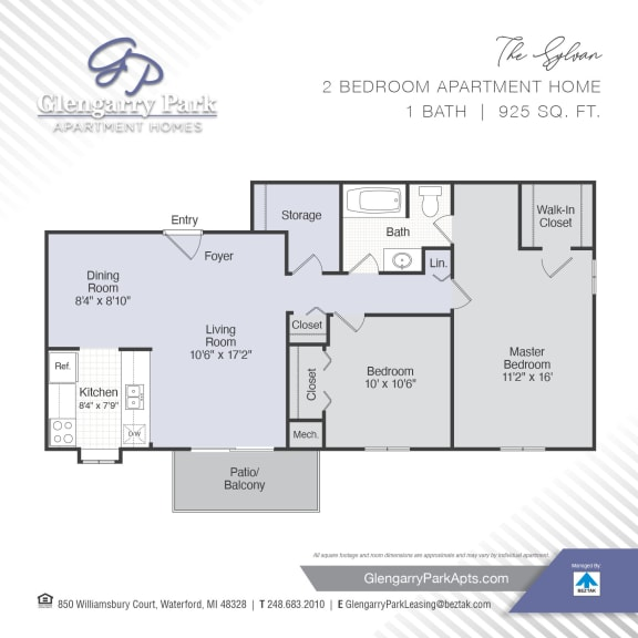 Two Bed One Bath Floor Plan at Glengarry Park, Waterford, 48328