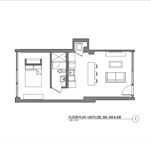 Broadway Lofts 1 Bedroom Floor Plan