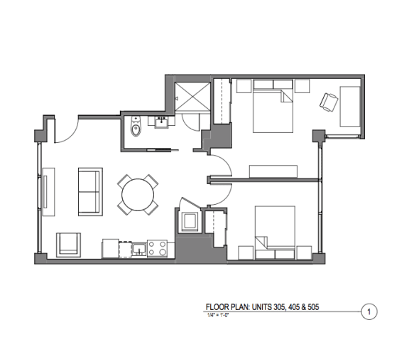 Broadway Lofts 2 Bedroom Floor Plan