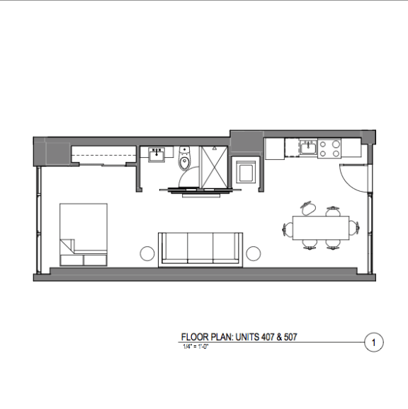 Broadway Lofts Studio Floor Plan