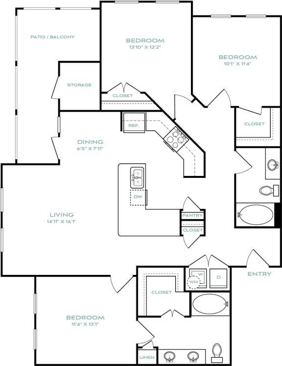 three bedroom apartments in haltom city