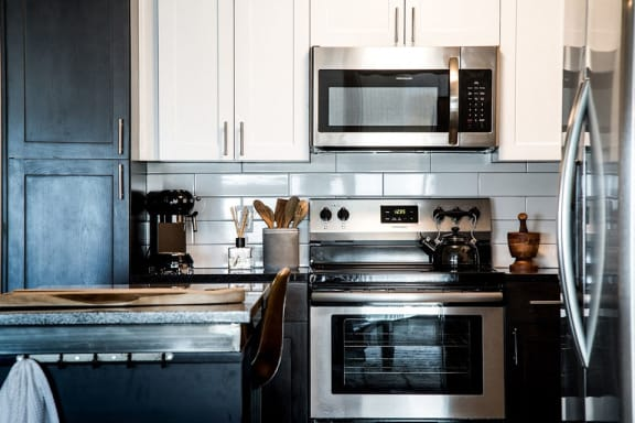Electric Range In Kitchen at CityWay, Indiana