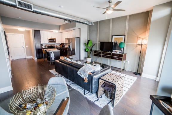 Furnished Living Room Come Kitchen View at CityWay, Indiana, 46204