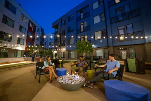 Outdoor courtyard with fire pit at CityWay, Indianapolis, IN, 46204