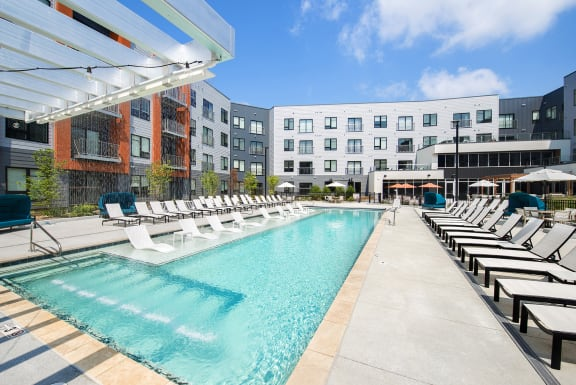 Pool Side Relaxing Area With Sundeck at Union Berkley, Kansas City, MO