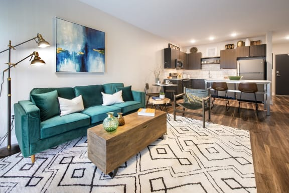 Luxury, Wood-Style Flooring in Kitchen, Entries + Living Area at Union Berkley, Kansas City, 64120