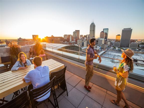 Rooftop Terrace Seating at CityWay, Indianapolis, Indiana