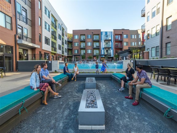 Outdoor Pools with Patio Seating at CityWay, Indianapolis, IN, 46204