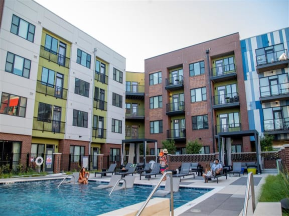 Pool With Sunning Deck at CityWay, Indianapolis, IN, 46204