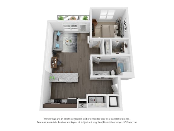 Seager 1 Bed 1 Bath 3D Floor Plan at The Century at Purdue Research Park, Indiana, 47906