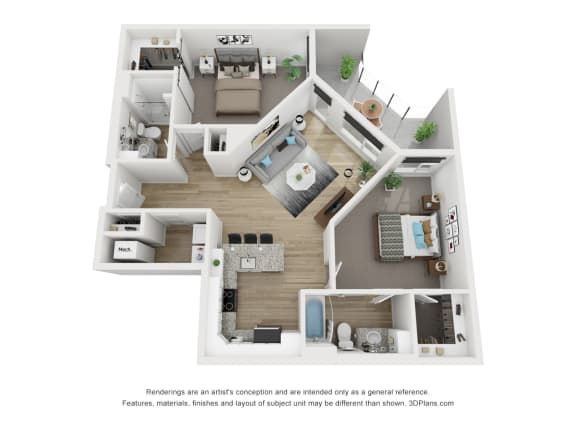 3D Floor Plan at The Approach at Summit Park, Blue Ash