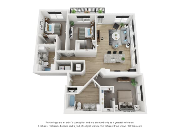 3B Floor Plan at The Approach at Summit Park, Blue Ash, OH, 45242