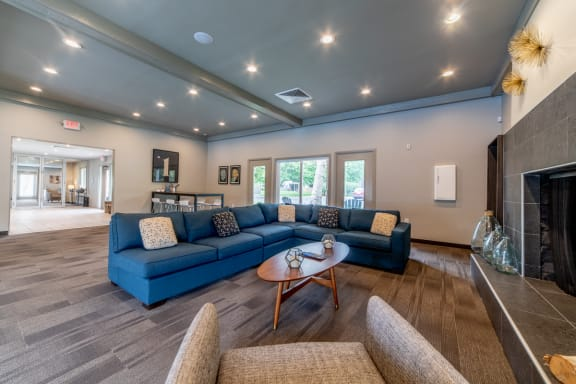 Posh Lounge Area In Clubhouse at Woodbridge Apartments, Louisville, Kentucky