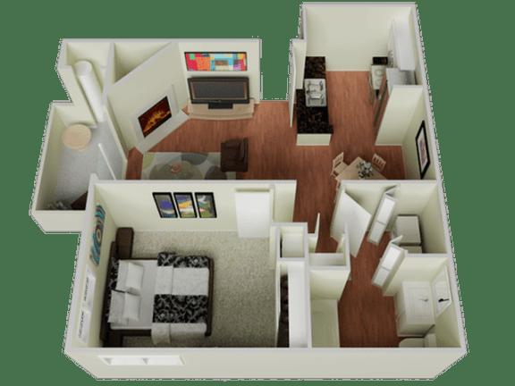 Floor Plan  One bedroom Floor Plan l The Edge Apartments in Davis, CA