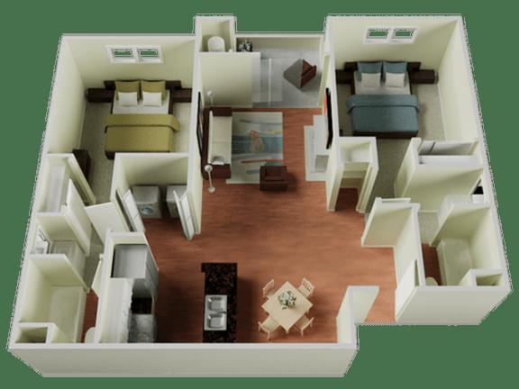 Floor Plan  Two bedroom Floor Plan l The Edge Apartments in Davis, CA