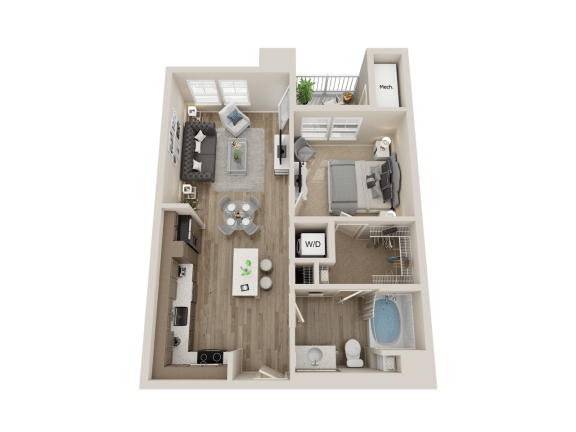 One bedroom floor plan l Sacramento CA Apartment Rentals