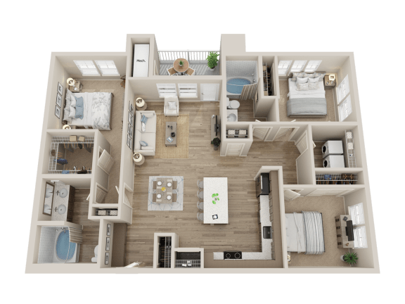 three bedroom floor plan l Alira Apartments for rent in Sacramento Ca