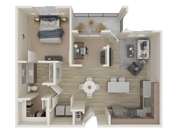 A4 Floor Plan 3D Layout at Allure 2920 Apartments, Modesto, CA