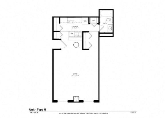 Studio |507 sq ft - Floorplan at Cosmopolitan Apartments