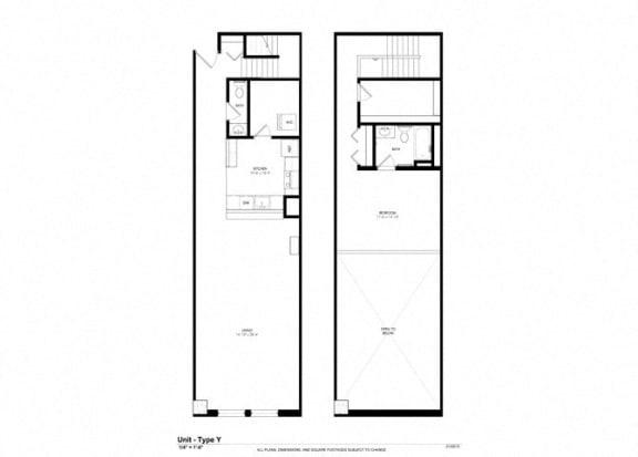 1 Bed - 1 Bath |1290 sq ft - Floorplan at Cosmopolitan Apartments
