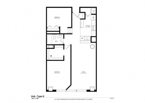 1 Bed - 1 Bath |863 sq ft - Floorplan at Cosmopolitan Apartments