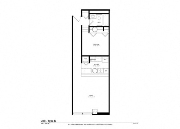 1 Bed - 1 Bath |830 sq ft - - Floorplan at Cosmopolitan Apartments